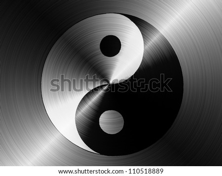 The Ying Yang sign painted on brushed metall - stock photo