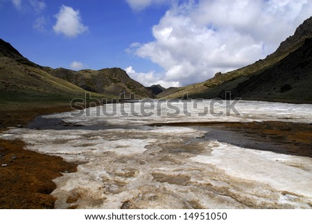 """The Yol Valley, also known as 'Ice Valley"""", southern Mongolia, in spring sunshine - stock photo"""