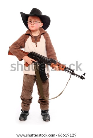 The young american ranger with assault rifle on a white background. - stock photo