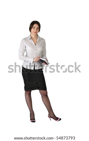 The young and beautiful business lady with a notebook in hands on a white background