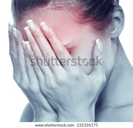 The young attractive woman with an awful migraine. A headache attack  - stock photo