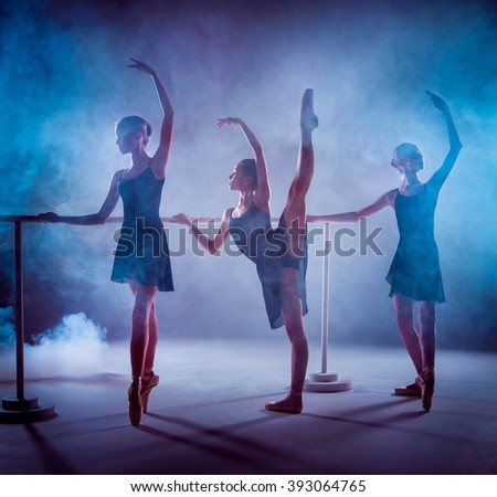 The young ballerinas stretching on the bar  - stock photo