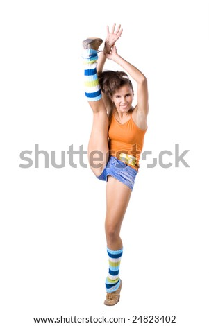 The young beautiful girl engaged in fitness on a white background