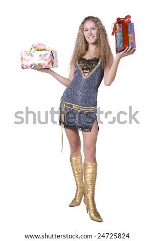 The young beautiful girl with a gift box on a white background
