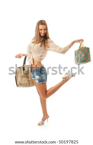 The young beautiful girl with a two bags isolated on a white background