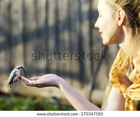 The young beautiful woman feeds a bird from a hand, focus on a bird - stock photo