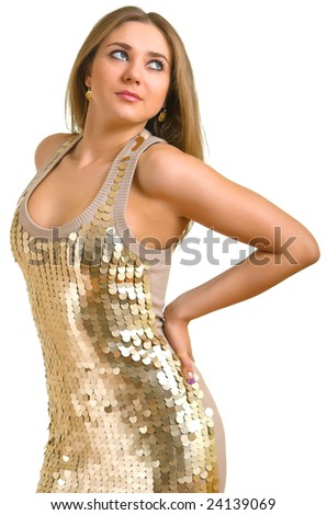 The young beautiful women in a golden dress. Isolation on a white background