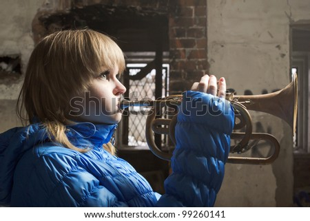 The young blonde with the Cornet - stock photo