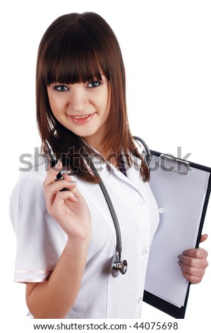 The young brunette the charming staff nurse isolated on white