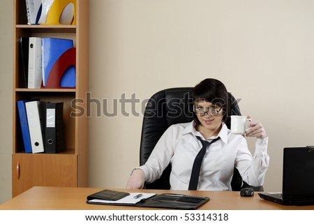 The young business woman at office
