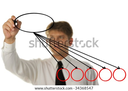 The young businessman drawing on the screen - stock photo