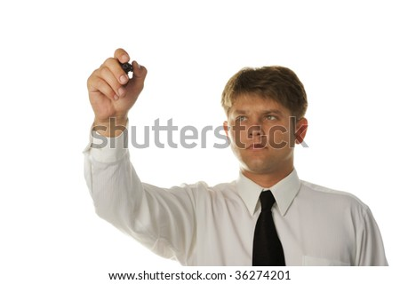 The young businessman drawing on the screen. It is isolated on a white background - stock photo