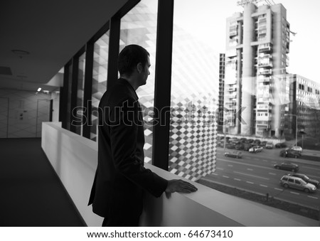 The young businessman in the workplace - stock photo