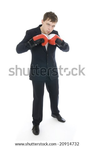 The young businessman isolated on a white background - stock photo
