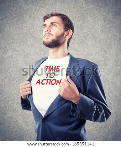 The young businessman motivates to action - stock photo