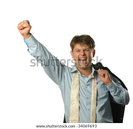 The young businessman - the winner. Expression of pleasure, strong emotion. It is isolated on a white background - stock photo