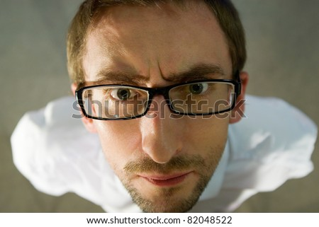 the young casual silly man full length - stock photo