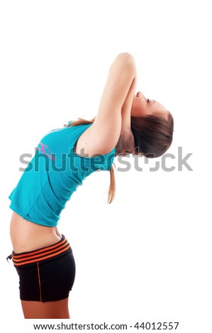 The young charming girl goes in for sports - stock photo