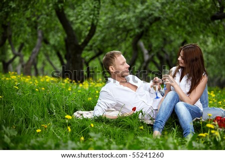 The young couple in park on picnic drinks champagne - stock photo