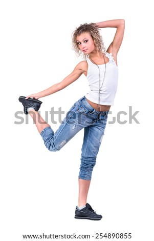 The young dancing girl, isolated on white background in full length. - stock photo