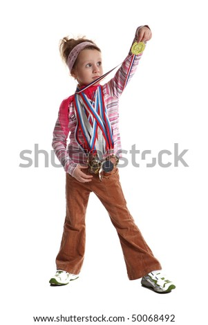 The young girl (child) the sportsman shows the sports awards - stock photo