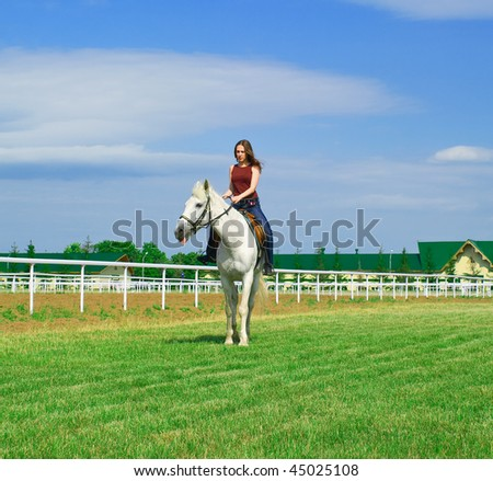 The young girl embraces a white horse against summer landscape - stock photo