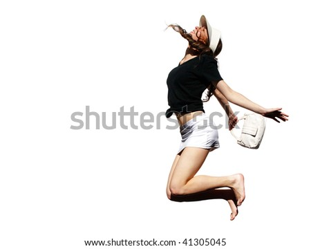 The young girl in a happy jump on a white background - stock photo