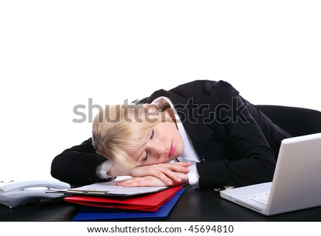 The young girl the secretary has fallen asleep behind a table, having put a head on hands