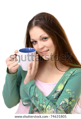The young girl with a cup on a white background