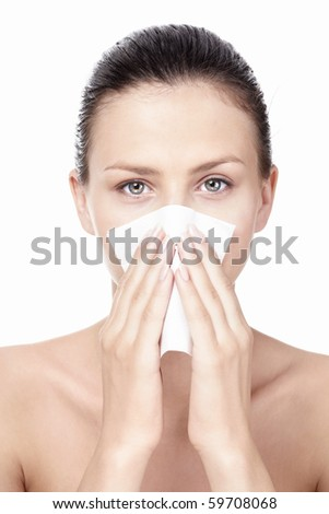 The young girl with a handkerchief - stock photo