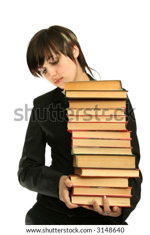 The young girl with books, isolated on white - stock photo
