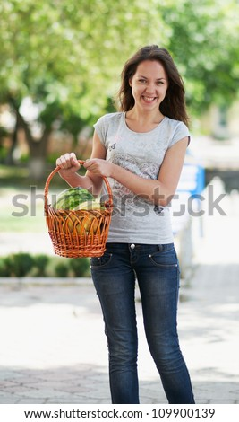 The young  girl with products in the basket