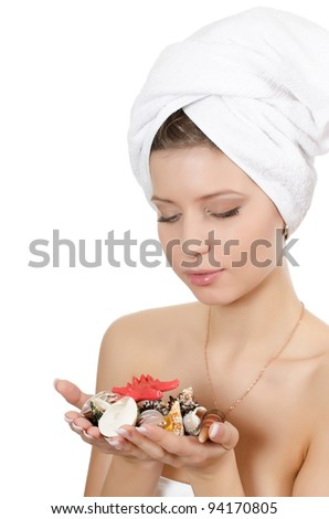 The young girl with towel on hair - stock photo
