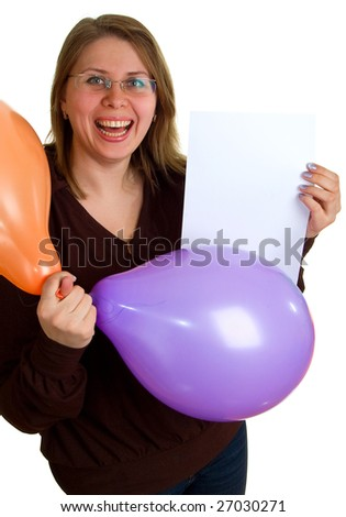 The young joyful women with balloons and empty sheet of a white paper in hands. Isolation on the white