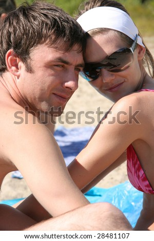 The Young loveres on the beach.