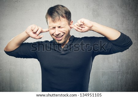 The young man closed ears