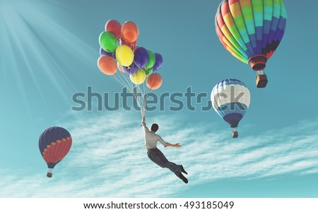 The young man in suit flying with colorful balloons around another balloons.  This is a 3d render illustration