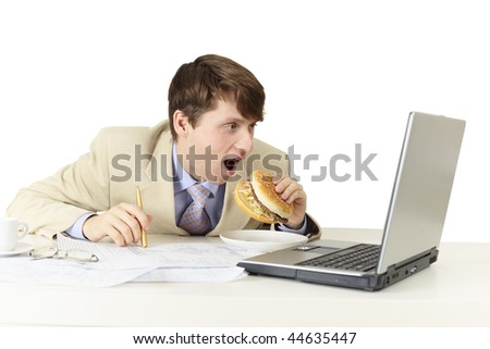 The young man is going to eat a sandwich isolated on white - stock photo