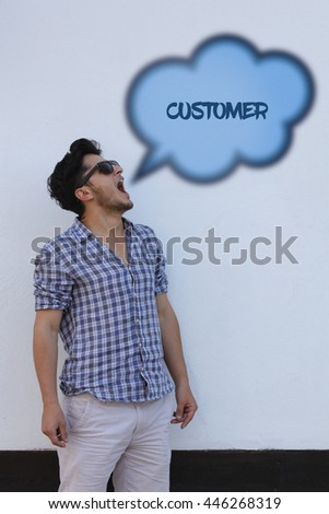 The young man says in the speech bubble from his mouth Customer. - stock photo