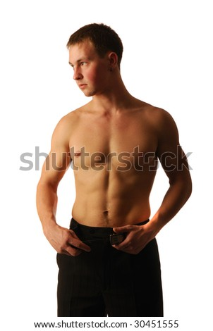 The young man with a strong beautiful torso and strong hands.