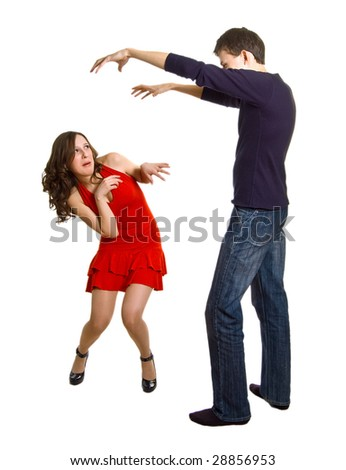 The young men attacks the beautiful girl. Isolation on a white background - stock photo
