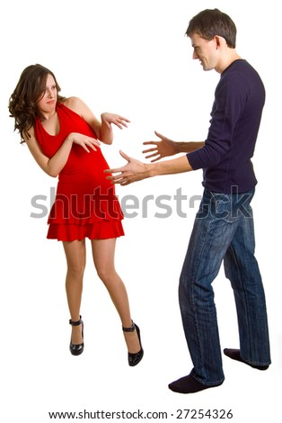 The young men tries to get acquainted with the beautiful girl. Isolation on a white background - stock photo