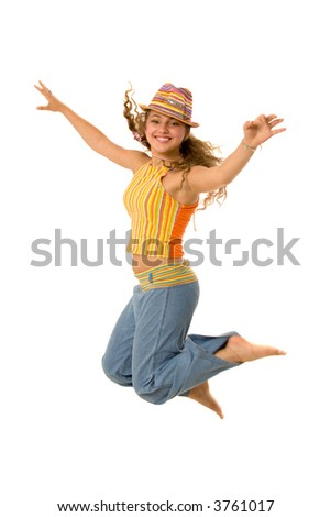 The young nice girl to study to fly - stock photo