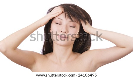 the young relaxing woman over white background