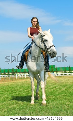 The young smiling girl embraces a white horse against summer landscape - stock photo