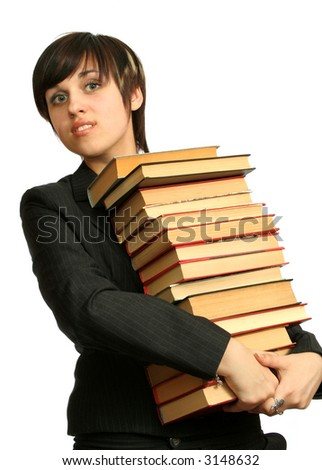 The young smiling girl with books, isolated on white - stock photo