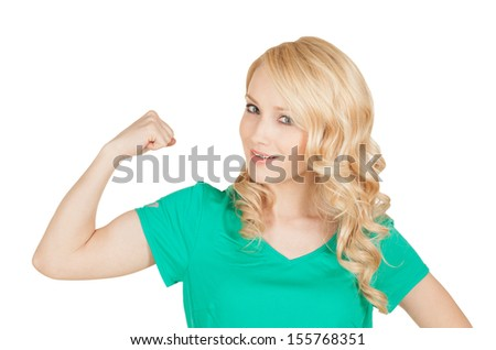 the young sport woman showing her biceps - stock photo