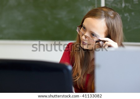 The young teacher on employment in the higher school - stock photo