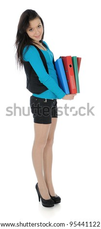 The young woman carrying documents folders.
