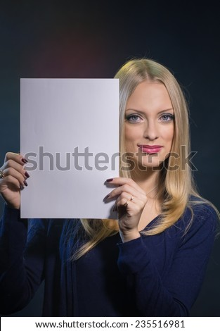 The young woman holds the pure form - stock photo